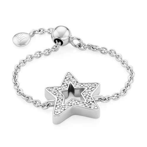 Sterling Silver Alphabet Star Adjustable Friendship Diamond Ring - LIMITED EDITION - Diamond - Monica Vinader