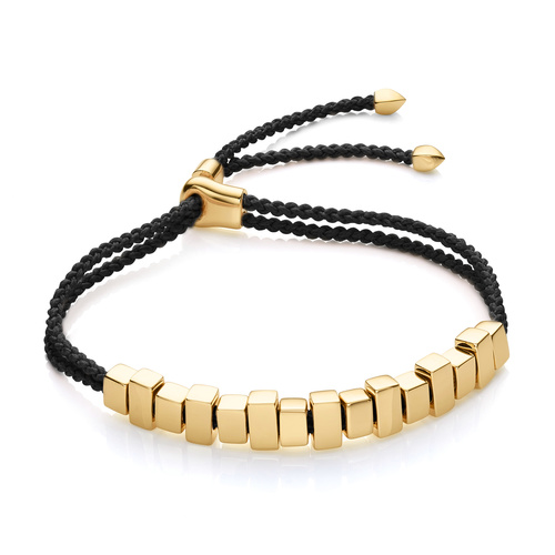 Gold Vermeil Linear Ingot Friendship Bracelet - Black - Monica Vinader