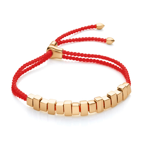 Gold Vermeil Includes £50 donation to NHS: Linear Ingot Bracelet - Coral - Monica Vinader