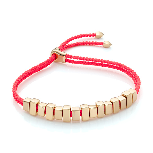 Gold Vermeil Linear Ingot Friendship Bracelet - Fluro Coral - Monica Vinader
