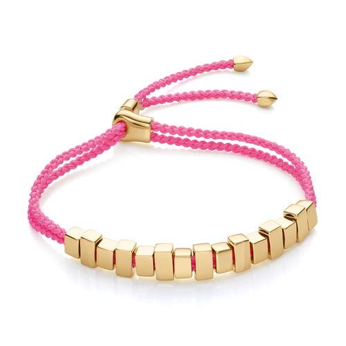 Gold Vermeil Linear Ingot Friendship Bracelet - Fluoro Pink - Monica Vinader