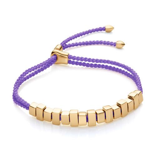 Gold Vermeil Linear Ingot Friendship Bracelet - Lavender Purple - Monica Vinader