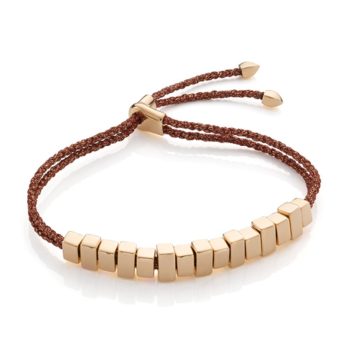 Gold Vermeil Linear Ingot Friendship Bracelet - Rust Metallica - Monica Vinader