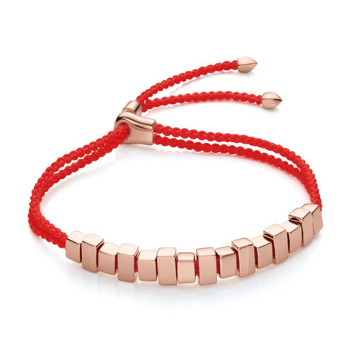 Rose Gold Vermeil Linear Ingot Friendship Bracelet - Coral - Monica Vinader
