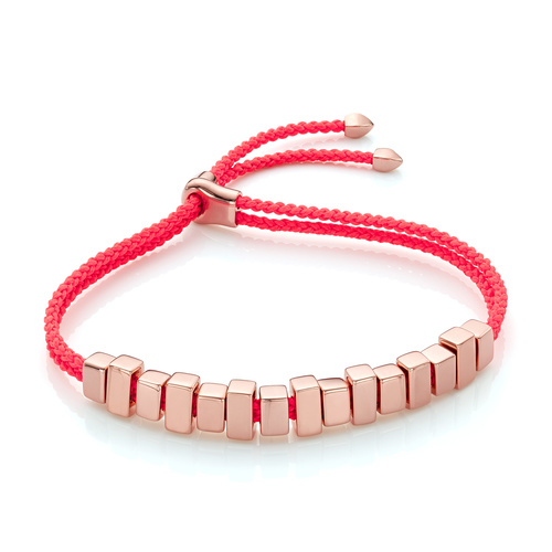 Rose Gold Vermeil Includes £50 donation to NHS: Linear Ingot Bracelet - Fluro Coral - Monica Vinader