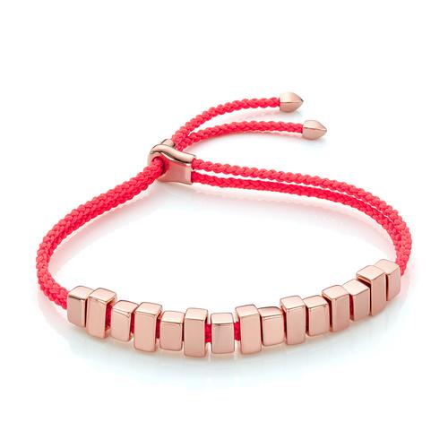 Rose Gold Vermeil Linear Ingot Friendship Bracelet - Fluro Coral - Monica Vinader