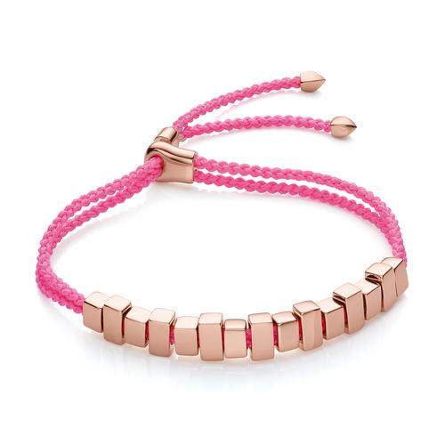 Rose Gold Vermeil Linear Ingot Friendship Bracelet - Fluoro Pink - Monica Vinader