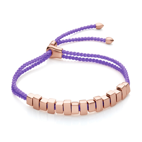 Rose Gold Vermeil Linear Ingot Friendship Bracelet - Lavender Purple - Monica Vinader