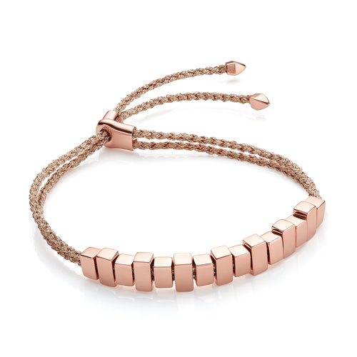 Rose Gold Vermeil Linear Ingot Friendship Bracelet - Rose Gold Metallica - Monica Vinader
