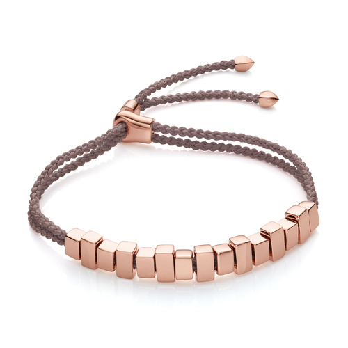 Rose Gold Vermeil Linear Ingot Friendship Bracelet - Mink - Monica Vinader
