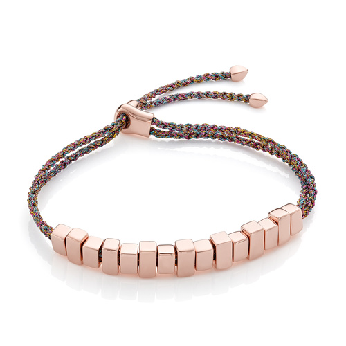 Rose Gold Vermeil Linear Ingot Friendship Bracelet - Rainbow Metallica - Monica Vinader