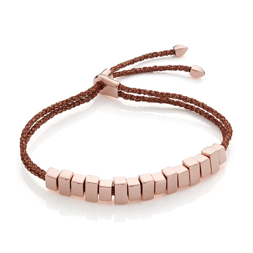 Rose Gold Vermeil Linear Ingot Friendship Bracelet - Rust Metallica - Monica Vinader