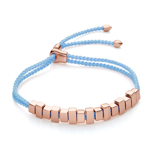 Rose Gold Vermeil Linear Ingot Friendship Bracelet - Sky Blue - Monica Vinader