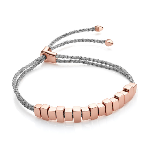 Rose Gold Vermeil Linear Ingot Friendship Bracelet - Silver Metallica - Monica Vinader