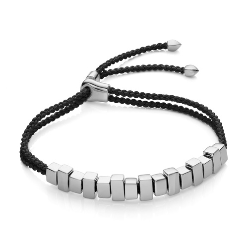 Sterling Silver Linear Ingot Friendship Bracelet - Black - Monica Vinader