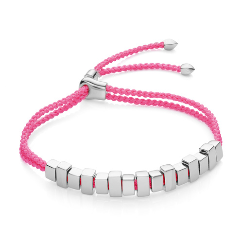 Sterling Silver Includes £50 donation to NHS: Linear Ingot Bracelet - Fluoro Pink - Monica Vinader