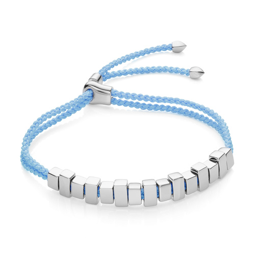 Sterling Silver Linear Ingot Friendship Bracelet - Sky Blue - Monica Vinader