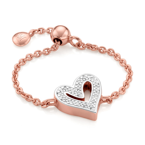 Rose Gold Vermeil Alphabet Heart Adjustable Friendship Diamond Ring - LIMITED EDITION - Diamond - Monica Vinader