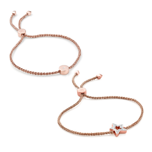 Alphabet and Linear Solo Friendship Diamond Bracelet Set - Monica Vinader