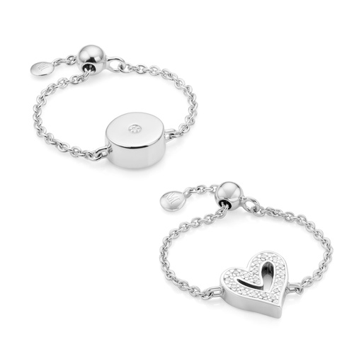 Alphabet and Linear Solo Adjustable Friendship Diamond Ring Set - Monica Vinader