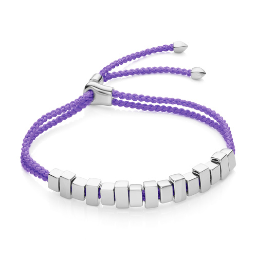 Sterling Silver Linear Ingot Friendship Bracelet - Lavender Purple - Monica Vinader