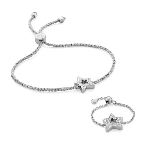 Alphabet Friendship Bracelet and Adjustable Ring Diamond Set - Monica Vinader