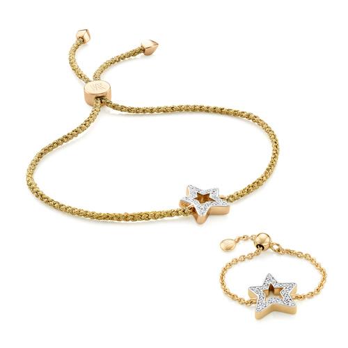 Alphabet Friendship Bracelet and Adjustable Ring Diamond Set - Monica Vinader