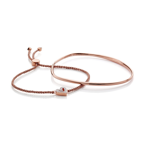 Alphabet Friendship Diamond Bracelet and Nura Bangle Set - Monica Vinader