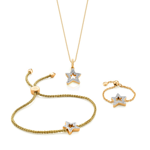 Alphabet Friendship Bracelet, Adjustable Ring and Pendant Charm Necklace Diamond Set - Monica Vinader