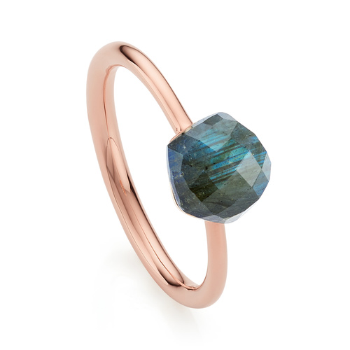 Rose Gold Vermeil Nura Mini Nugget Stacking Ring - LIMITED EDITION - Labradorite - Monica Vinader