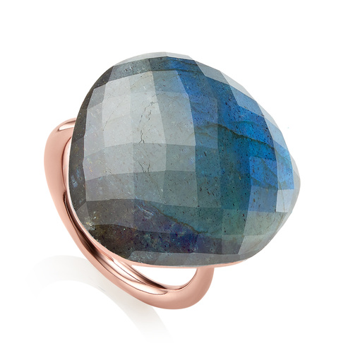 Rose Gold Vermeil Nura Large Pebble Ring - LIMITED EDITION - Labradorite - Monica Vinader