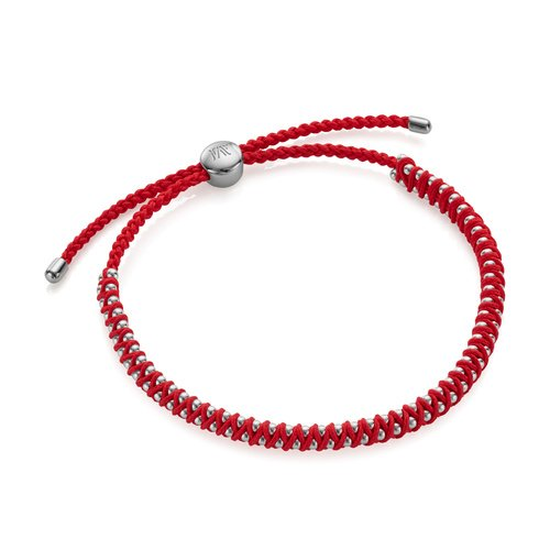 Sterling Silver Rio Mini Friendship Bracelet - Coral - Monica Vinader