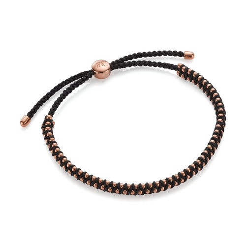 Rose Gold Vermeil Rio Mini Friendship Bracelet - Black - Monica Vinader