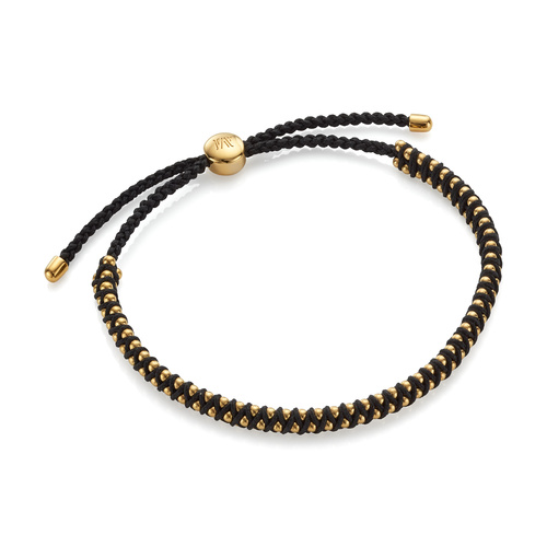 Gold Vermeil Rio Mini Friendship Bracelet - Black - Monica Vinader