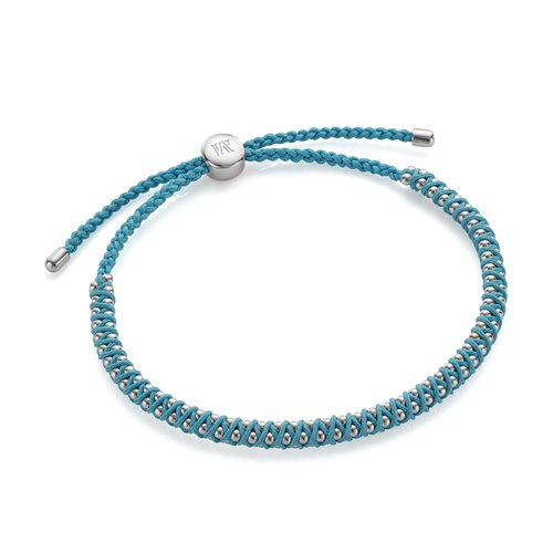 Sterling Silver Rio Mini Friendship Bracelet - Sky Blue - Monica Vinader