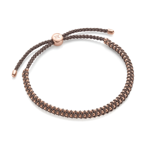 Rose Gold Vermeil Rio Mini Friendship Bracelet - Mink - Monica Vinader