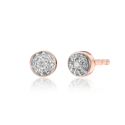 Rose Gold Vermeil Fiji Tiny Button Diamond Stud Earrings - Diamond - Monica Vinader