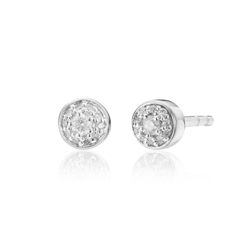Sterling Silver Fiji Tiny Button Diamond Stud Earrings - Diamond - Monica Vinader