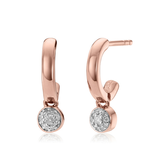 Rose Gold Vermeil Fiji Tiny Button Huggie Diamond Earrings - Diamond - Monica Vinader