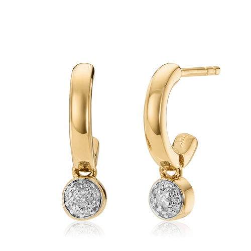 Gold Vermeil Fiji Tiny Button Huggie Diamond Earrings - Diamond - Monica Vinader
