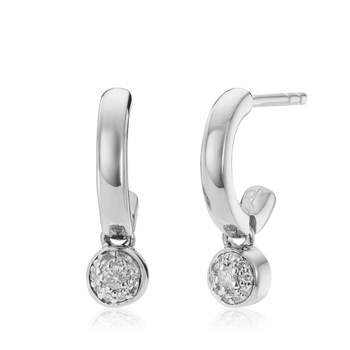 Sterling Silver Fiji Tiny Button Huggie Diamond Earrings - Diamond - Monica Vinader