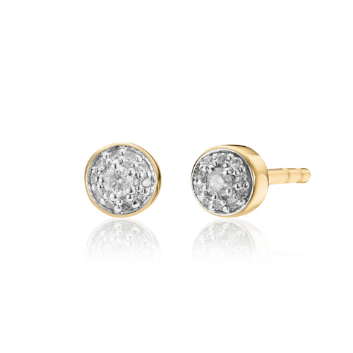 Gold Vermeil Fiji Tiny Button Diamond Stud Earrings - Diamond - Monica Vinader