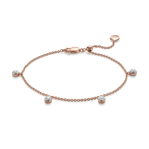 Rose Gold Vermeil Fiji Tiny Button Diamond Bracelet - Diamond - Monica Vinader
