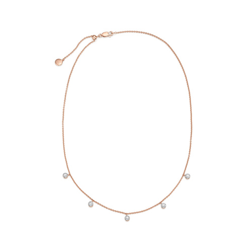 Rose Gold Vermeil Fiji Tiny Button Diamond Necklace - Diamond - Monica Vinader
