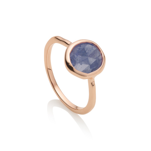 Rose Gold Vermeil Riva Stacking Ring - Tanzanite - Monica Vinader