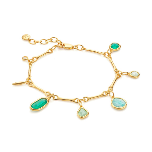 Gold Vermeil Siren Tonal Multi Drop Bracelet - Mix - Monica Vinader