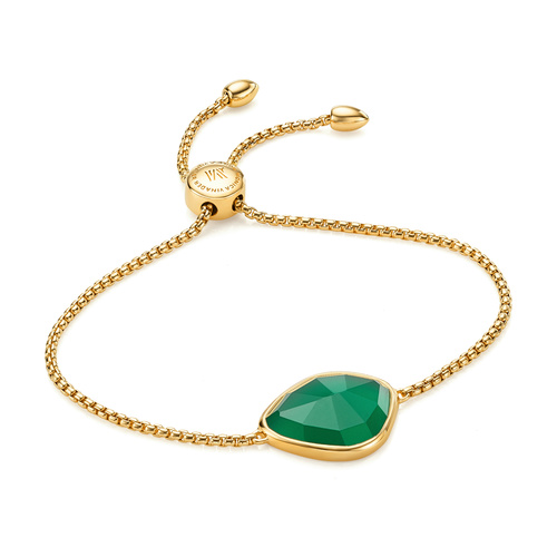 Gold Vermeil Siren Nugget Friendship Chain Bracelet - Green Onyx - Monica Vinader