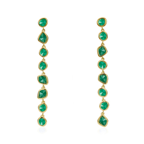Gold Vermeil Siren Mini Nugget Cocktail Earrings - Green Onyx - Monica Vinader