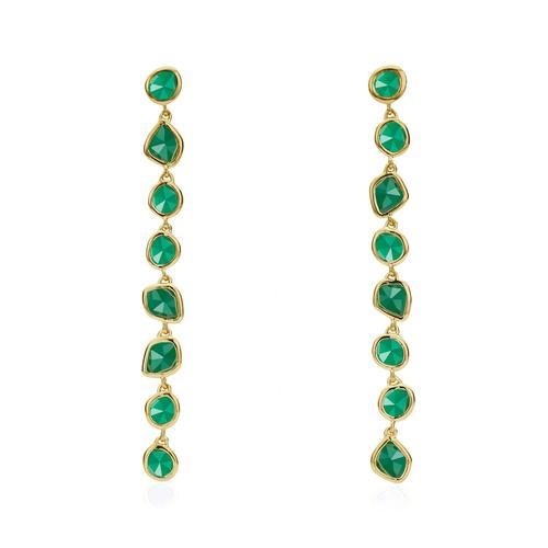 Gold Vermeil Siren Mini Nugget Cocktail Earrings - Green Onyx - Monica Vinader