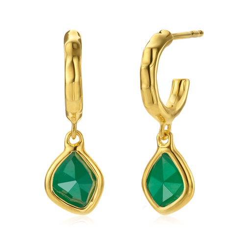 Gold Vermeil Siren Mini Nugget Hoop Earrings - Green Onyx - Monica Vinader